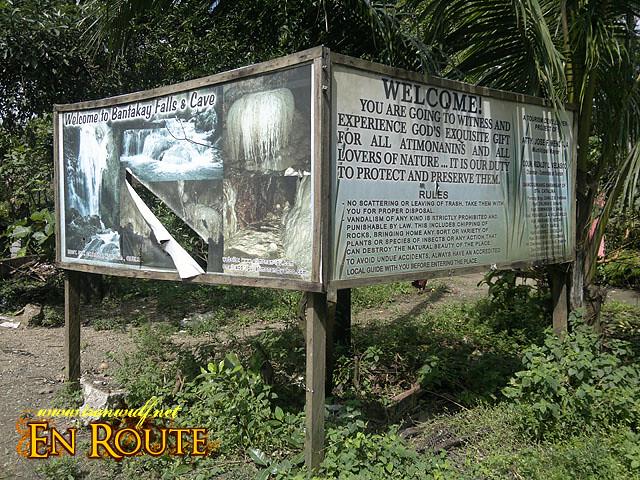 Road signage for Bantakay Falls and Cave