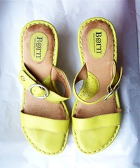 ebayed: Chartreuse Born Wedge Sandals