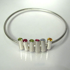 Girls on a Trapeze, tube set sterling bangle