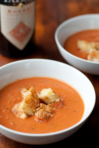 "Sherried Tomato Soup with grilled cheese ""croutons"""