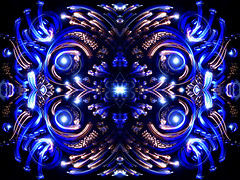 Gzhel (FDU4) Tags: blue light white lightpainting black color detail reflection beautiful lines yellow dark painting carpet four star mirror colorful pattern details 4 central creative trace center kaleidoscope mandala symmetry line trail torch galaxy mysterious mirrored flashlight symmetric symmetrical trippy psychedelic striking magical shining centered extraordinary kaleidoscopic remarkable intricate eyecatching fanciful distinctive noticeable prominent splendorous
