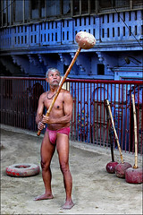 Swinging his bat (oochappan) Tags: india wrestling varanasi wrestler benares oochappan kusthi kushti kusti img9568 lifeinindia tulsighat wrestlingindia kusthimaster uttarpadesh kushtiwrestling kusthiwrestling kustiwrestling