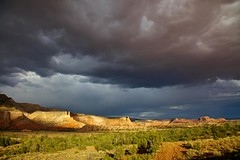 Abiquiu sky (Rozanne Hakala) Tags: sunset sky usa storm newmexico southwest tourism landscape outdoors sandstone desert scenic stormy tourist canyon cliffs nm redrock formations abiquiu ghostranch georgiaokeeffe carsonnationalforest landofenchantment okeeffecountry rioarribacounty