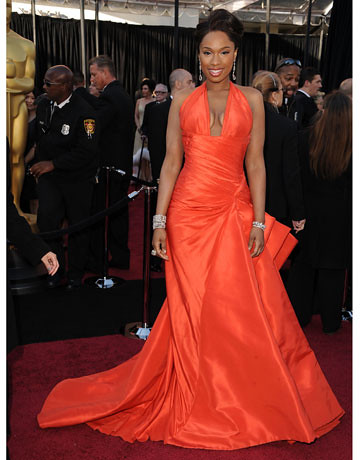 I wasn't crazy about Jennifer Hudson's Grammy dress but I'm ALL OVER her #Oscars tangerine Versace. Most improved!