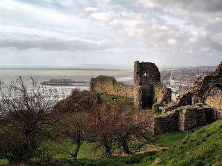 Hastngs Castle guarding the English Channel