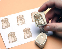 Gemma Correll's pug hand carved rubber stamp