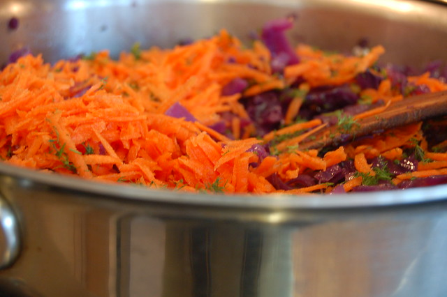Cooking the pie filling - carrots and cabbage by Eve Fox, Garden of Eating blog, copyright 2011