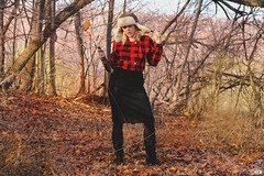 Lumberjack love (fringefalcon) Tags: old trees red woman black cute girl hat leaves female forest vintage gold model woods dress boots buttons sunny used blonde strap axe chop etsy plaid aviator pinup checker lumberjack pencilskirt