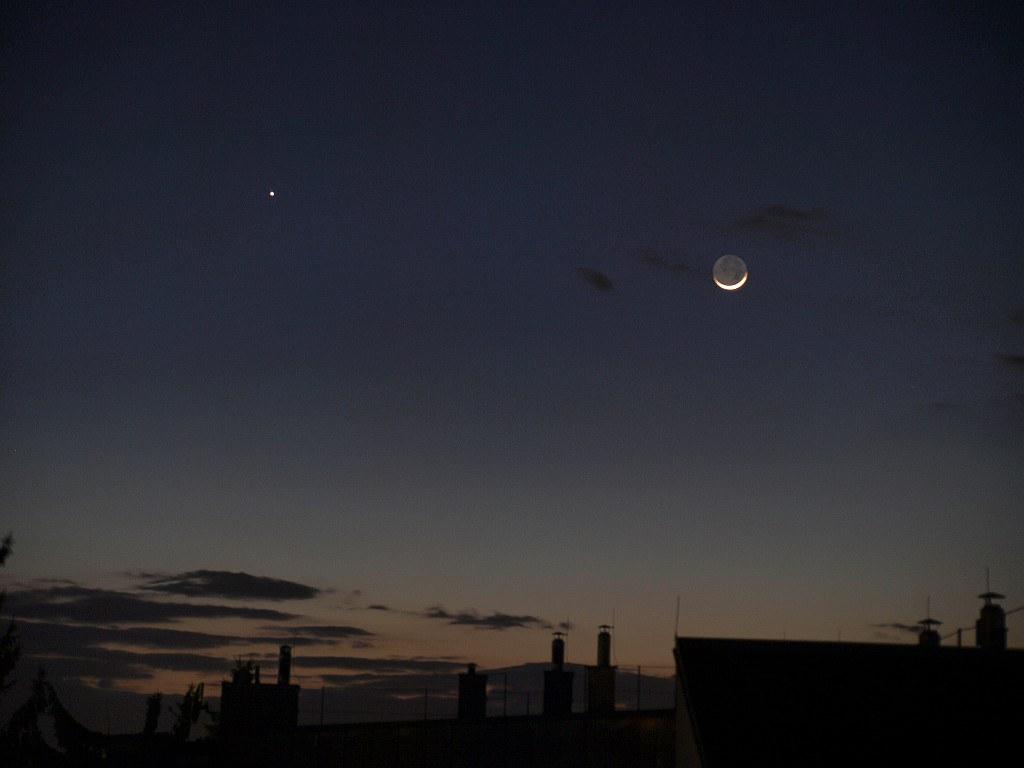 Mond und Jupiter, 6.März 2011, 18:43 MEZ