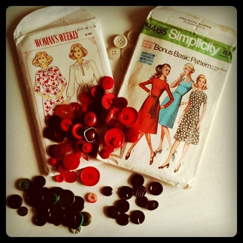 Vintage buttons and dress patterns