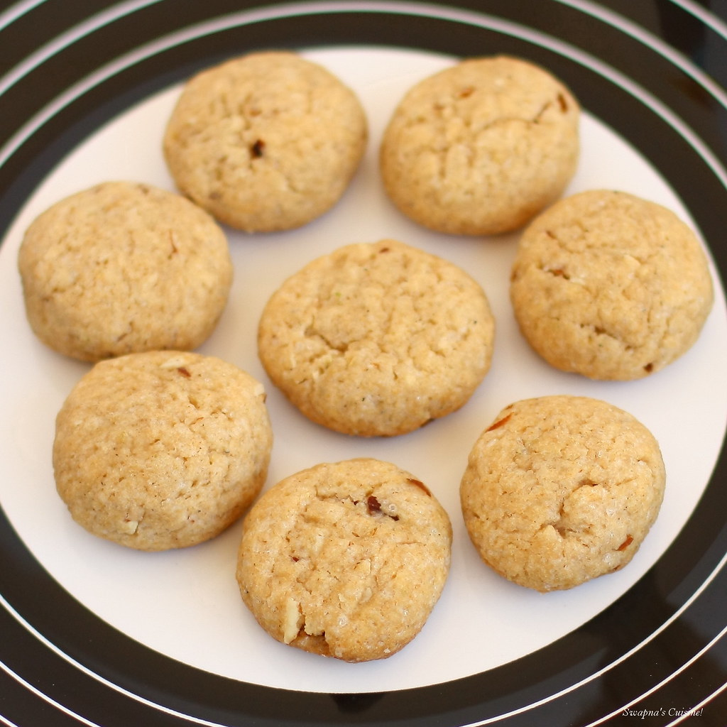 Whole Wheat Almond Eggless Cookies