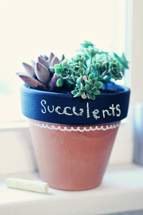 finished chalkboard pot