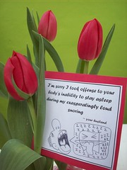 tulips for too loud lips (Huggie! (temporary trade impasse)) Tags: flowers sorry card snore snoring zzzzz huggie