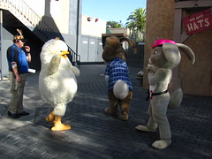 Carlos, E.B. and Fluffy play around before going on break at Universal Studios (Castles, Capes & Clones) Tags: california losangeles fluffy carlos universalcity characters hop universalstudios easterbunny eb universalstudioshollywood pinkberetbunnies