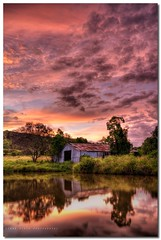 Love at First Site (Simon Diete) Tags: trees sunset sky moon reflection clouds barn rural landscape nikon farm breeze pinksky range hdr highcloud tonemapped 5xp highdynamic abigfave d700 waningcrescentmoon hdraddicted nikond700 simondiete