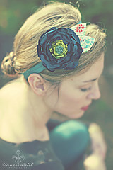 Teal and Avocado Green Silky Satin Fabric Flower with Patterned Leaves on a Soft Stretchy Headband (Poppy Row) Tags: toddler babies womens babygirl satin headbands leafs beaded silky stretchy fabricflower flowerheadbands madetomatch poppyrow heatsinged foeelastic headbandsforsale m2mmatildajane
