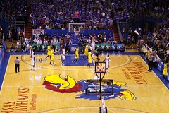 the chicken, er, Jayhawk, on the floor at KU's Allen Fieldhouse (by: Robert Rescot, creative commons license)