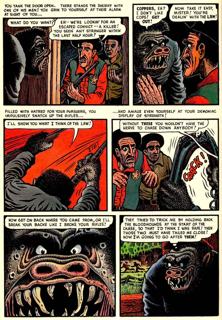 Basil Wolverton - Swamp Monster, Page 4 (Weird Mysteries # 5, 1953)
