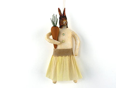 Bunny With a Carrot (oldworldprimitives) Tags: rabbit bunny yellow easter spring folkart handmade ornament carrot whimsical easterdecoration spuncotton antiquestyle spuncottonornament oldworldprimitives spuncottonrabbit