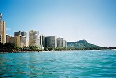 Waikiki Shoreline from Pops (malpractice) Tags: ocean new film 35mm canon island hawaii islands pacific oahu kodak 400 hawaiian portra waterproof sureshot as1 wp1