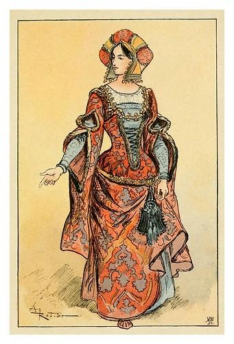 017-Dama del reinado de Carlos VIII-Mesdames nos aieules dix siecles d'elegances 1800- Albert Robida