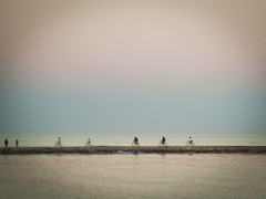 biking through the sea (elvira boix) Tags: sea espaa beach atardecer dawn mar soft bikes playa benicassim vlos castelln bicis supermoon