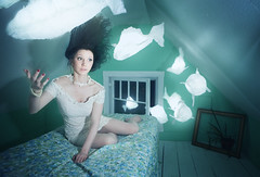 When The Fish Came In (Rob Woodcox) Tags: ocean wood blue sea fish window water night vintage crazy dress floor magic dream surreal pearls bedtimestories attic robwoodcox robwoodcoxphotography merylwaldo