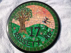 Stained glass and glass tile mosaic house number  (number 17)  Grouted (fiona parkes) Tags: flowers sunset flower glass sign plaque handmade mosaic mosaics stainedglass stained 17 housename housenumber grout millefiori glasstiles stainedglassmosaic mosaichousenumber housenumber17