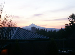Mount Hood looms over Portland