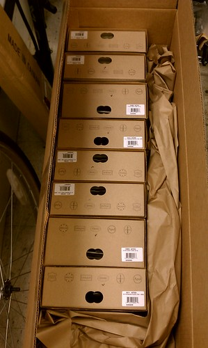 Golly, that's a lot of leather! Brooks saddles arrived at Flying Pigeon LA.