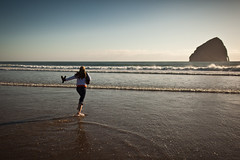 """The """"Offshore Sea Monolith"""" (ace97302) Tags: family summer sun beach home water oregon 35mm canon golden coast sand waves bokeh 14 naturallight wife barefeet haystackrock magichour wading seastack pacificcity capekiwanda wideopen 35l pelicanpubbrewery 5dii 327ft worldsfourthtallest offshoreseamonolith"""