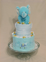 Blue Elephant Two Tier Diaper Cake for Boy (front)