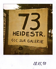 73 (web.werkraum) Tags: urban berlin art germany polaroid deutschland typography prime galerie urbanart hauptbahnhof schild schrift tiergarten 2010 zahlen buchstaben typographie versalien heidestr moabit nummer ziffern zahl primzahl tyop primnumber berlinerknstlerin tagesnotiz webwerkraum karinsakrowski zahlenprojekt