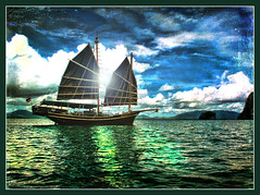 Chinese Junk (Bob__Gilmour) Tags: sea sky texture boat fishing junk ship chinese sail wate seascpae mygearandme mygearandmepremium mygearandmebronze mygearandmesilver mygearandmegold artistoftheyearlevel4 aboveandbeyondlevel1 aboveandbeyondlevel2
