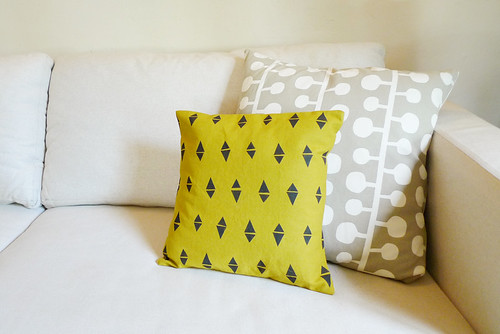 triangle pillow made by Erin Dollar