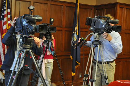 TV Media Record a News Event Held by the Michigan Municipal League