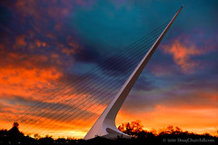 sundial at sunset (Doug Churchill) Tags: california ca bridge usa northerncalifornia architecture us unitedstatesofamerica bridges sundial norcal redding santiagocalatrava sundialbridge shastacounty turtlebayexplorationpark nikond700