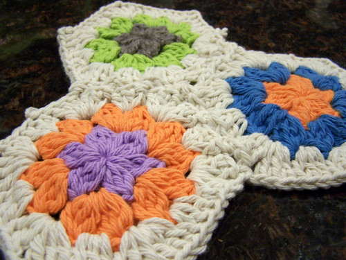 Three Crocheted Hexagons