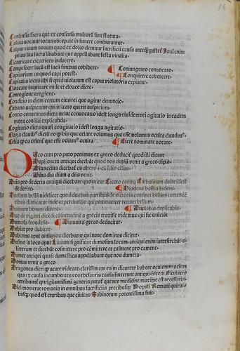 Initial supplied in red in Festus, Sextus Pompeius: De verborum significatione