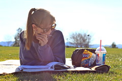 Homework at the park with my slurpee and fritos. [214/365] (katie ruthh) Tags: park food me colors girl sunglasses outside freshair warm katie books procrastination