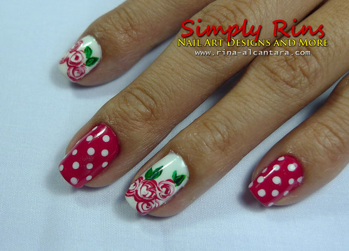 Valentine's Nail Art Bed of Roses 02