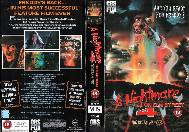 A Nightmare On Elm Street 4, The Dream Master (VHS Box Art)