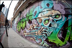 Nychos v Vibes (Romany WG) Tags: street urban london art skeleton skull graffiti sigma fisheye shoreditch vibes rem 15mm endoftheline 2011 nychos