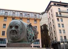 Louis Pradel, Mayor of Lyon city from 1957 to 1976 (Sokleine) Tags: portrait sculpture france face statue architecture reflections lyon rhne reflets visage spiegelungen ipoustguy pradel louispradel