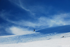 sun, wind, snow and a man (.:: Maya ::.) Tags: winter mountain snow nature beauty trekking landscape outdoor peak bulgaria rila       mountainsnaps mayaeye mayakarkalicheva  wwwmayaeyecom