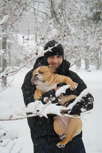 My brother and his bulldog Banana!!