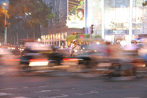 Saigon evening rush hour traffic