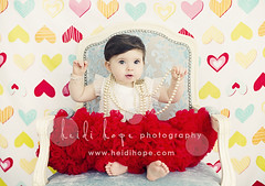 V-day shout out (Heidi Hope) Tags: red portrait baby color girl hearts one 1 colorful princess dressup pearls firstbirthday oneyearold valentinesday pettiskirt babyportrait