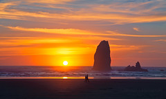 Walking on the beach - Cannon Beach , Oregon (janusz l) Tags: sunset people oregon cormorants evening bravo rocks walk cannonbeach janusz leszczynski walkingonthebeach seaboards 233853