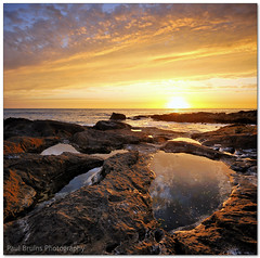 Blaauwberg Rock Pool Sunset (Panorama Paul) Tags: sunset reflections rockpools blaauwbergstrand nohdr sigmalenses nikfilters vertorama nikond300 wwwpaulbruinscoza paulbruinsphotography